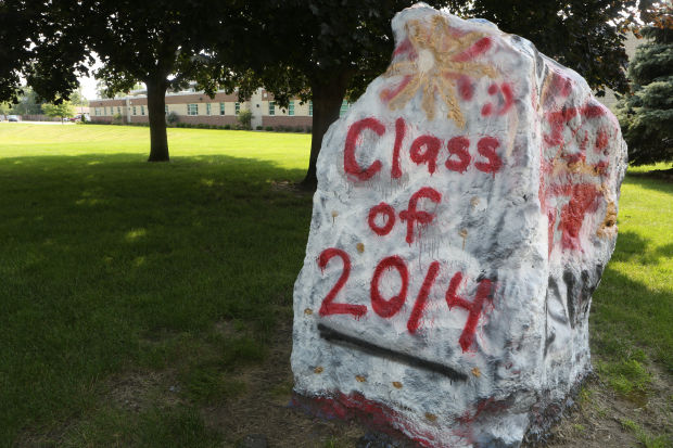 """The rock"" in front of T.F. South High School"