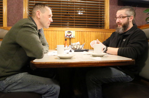 Aaron Allen meets weekly with his mentor Jason Gootee at Johnnie's Round the Clock Restaurant in Merrillville.