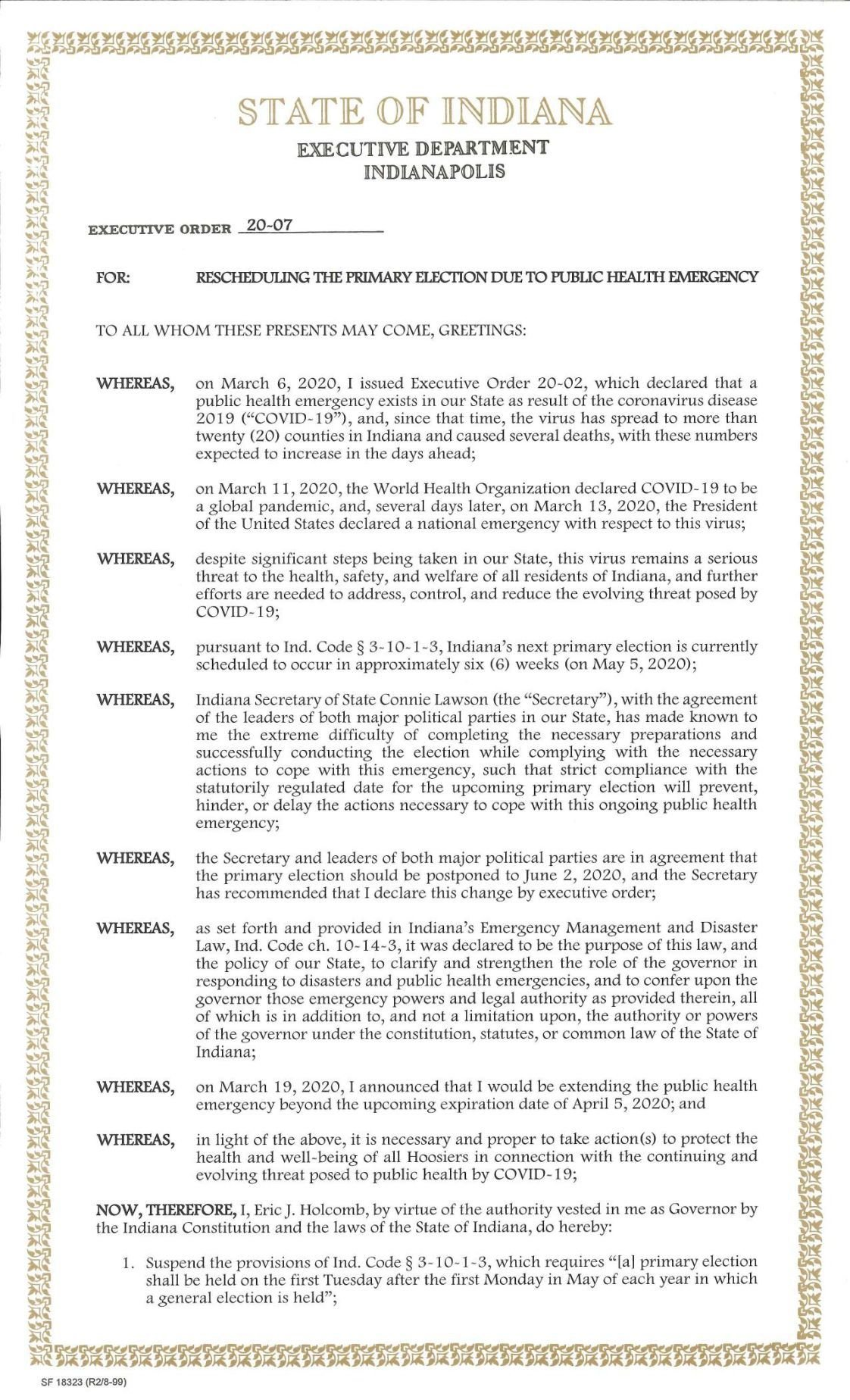 Gov. Holcomb Executive Order 20-07: Moving the primary elections to June 2