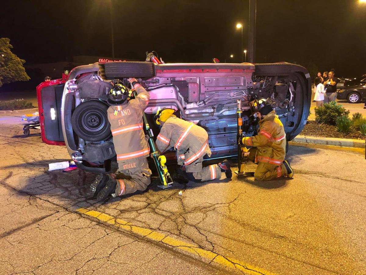 Griffith man removed from SUV after rollover in Highland Grove parking lot, taken to hospital