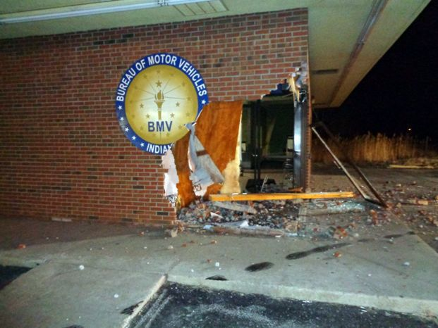 Pickup truck crashes into BMV office