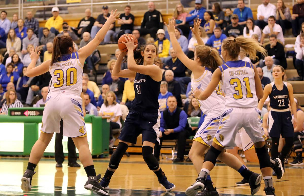 Marquette Catholic vs. Tri-Central girls basketball semistate