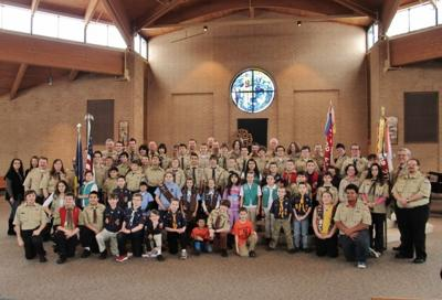 Lansing Scouts gather for Scout Sunday at St. Ann Church