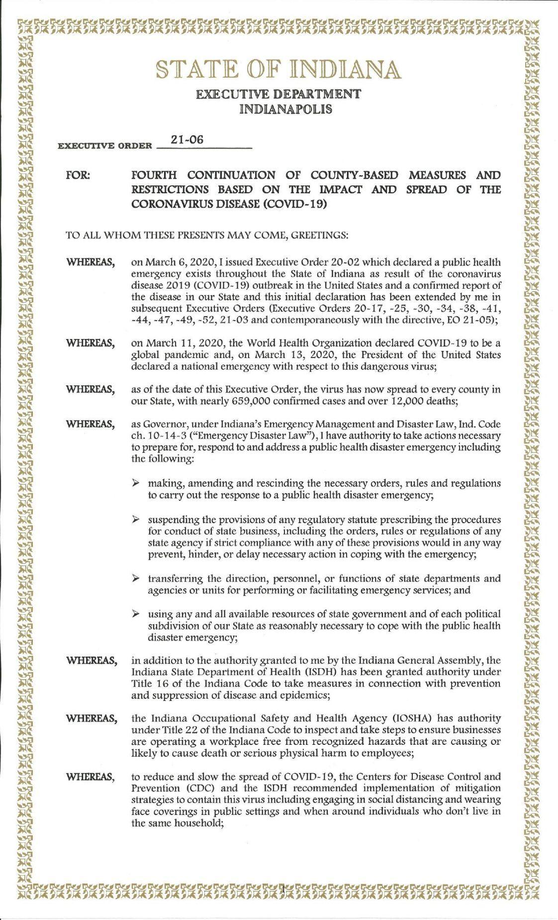 Gov. Eric Holcomb Executive Order 21-06