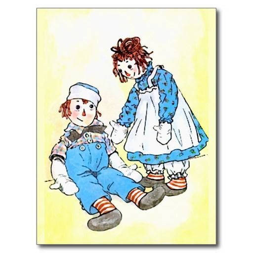 Raggedy Ann and Raggedy Andy on Vintage Postcard