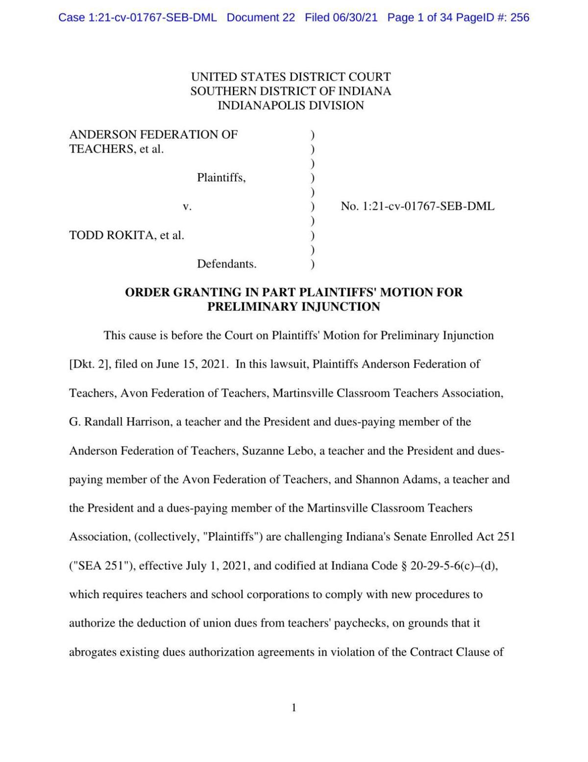 Anderson Federation of Teachers v. Rokita ruling of U.S. District Court