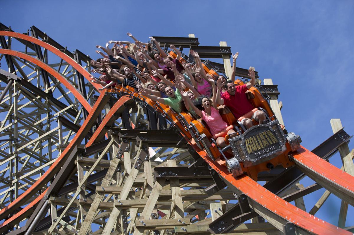 Six Flags Goliath coaster riders