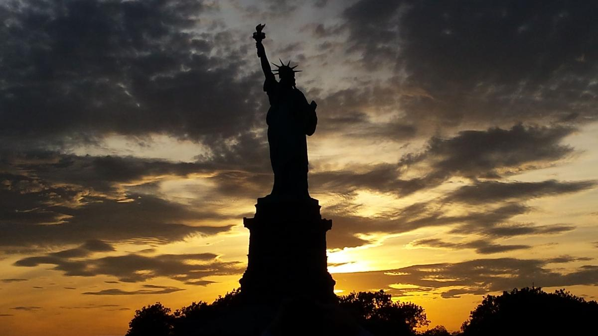 Lady Liberty at sunset
