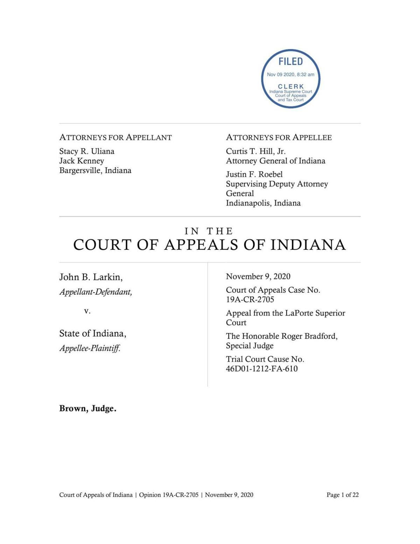 Larkin v. State ruling of Indiana Court of Appeals