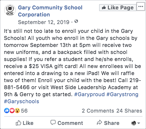 Gary schools fall 2019 enrollment