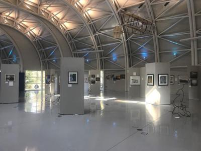 Industrial landscape on display at art exhibit at Indiana Welcome Center