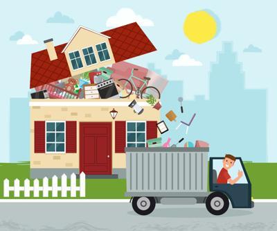 The concept of excessive consumerism. House bursting of stuff. T