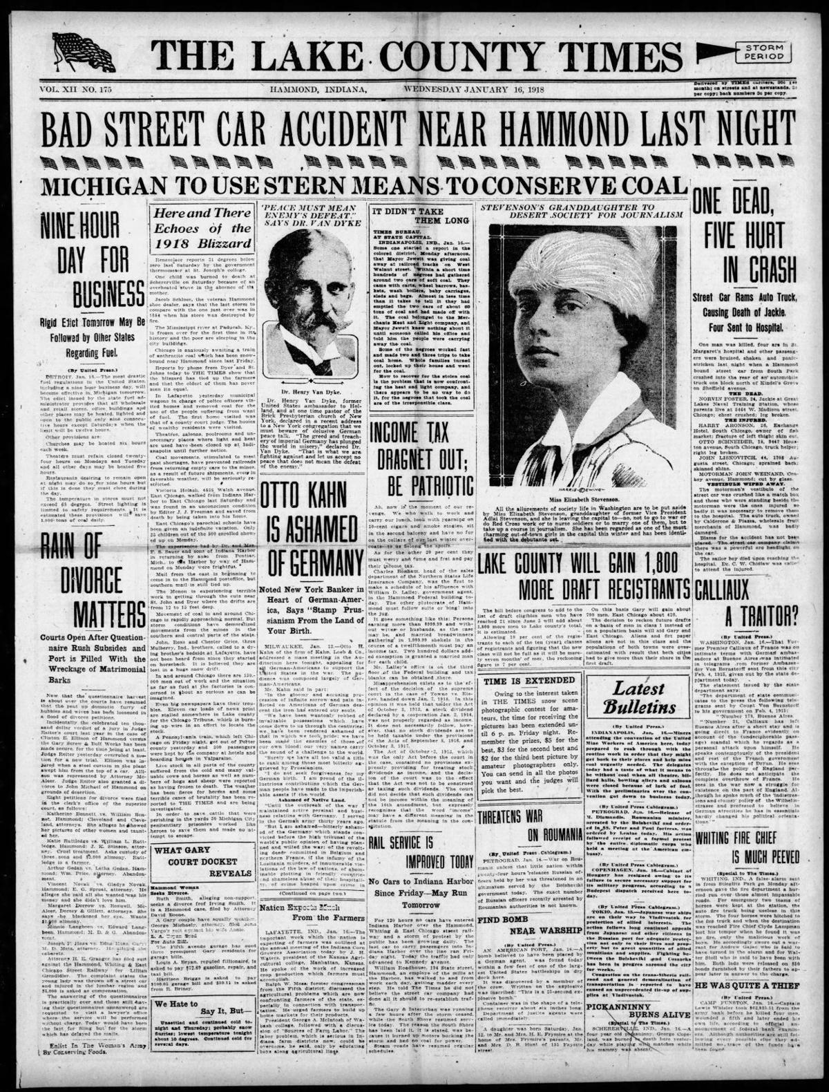 Jan. 16, 1918: Bad Street Car Accident Near Hammond Last Night