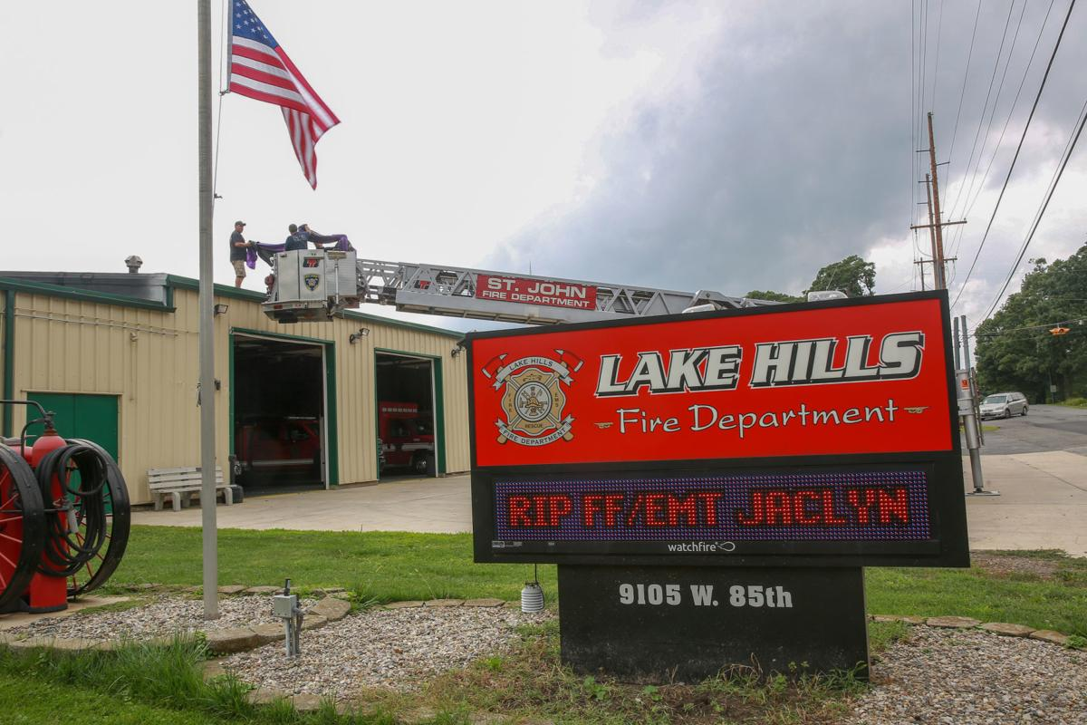 Lake Hills Fire Department raise bunting in honor of Jaclyn Nauracy