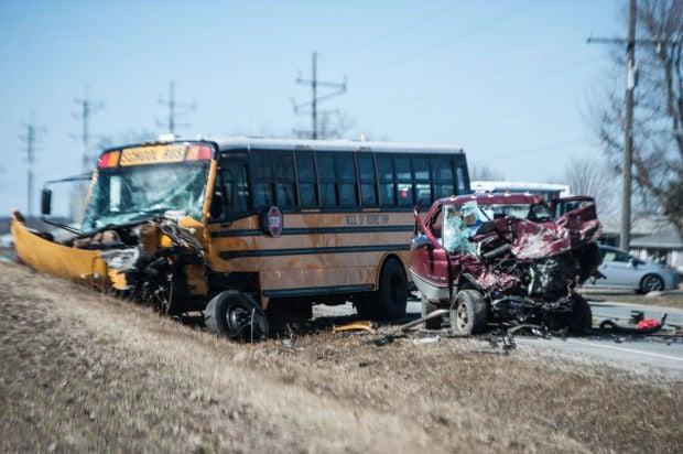 Two dead in accident involving school bus near Kouts