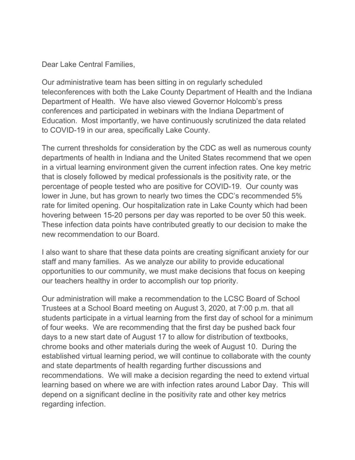 Lake Central July 31, 2020 letter to families