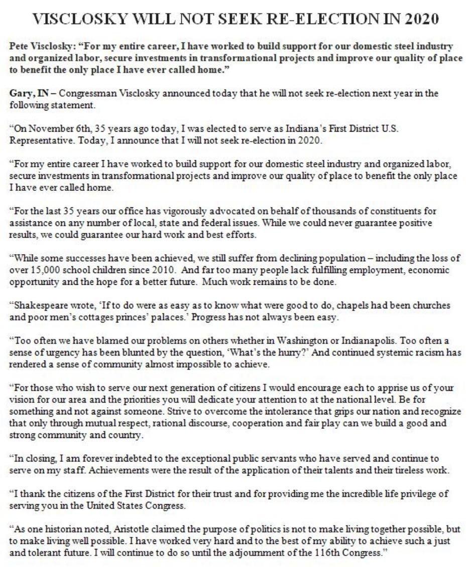 U.S. Rep. Pete Visclosky statement