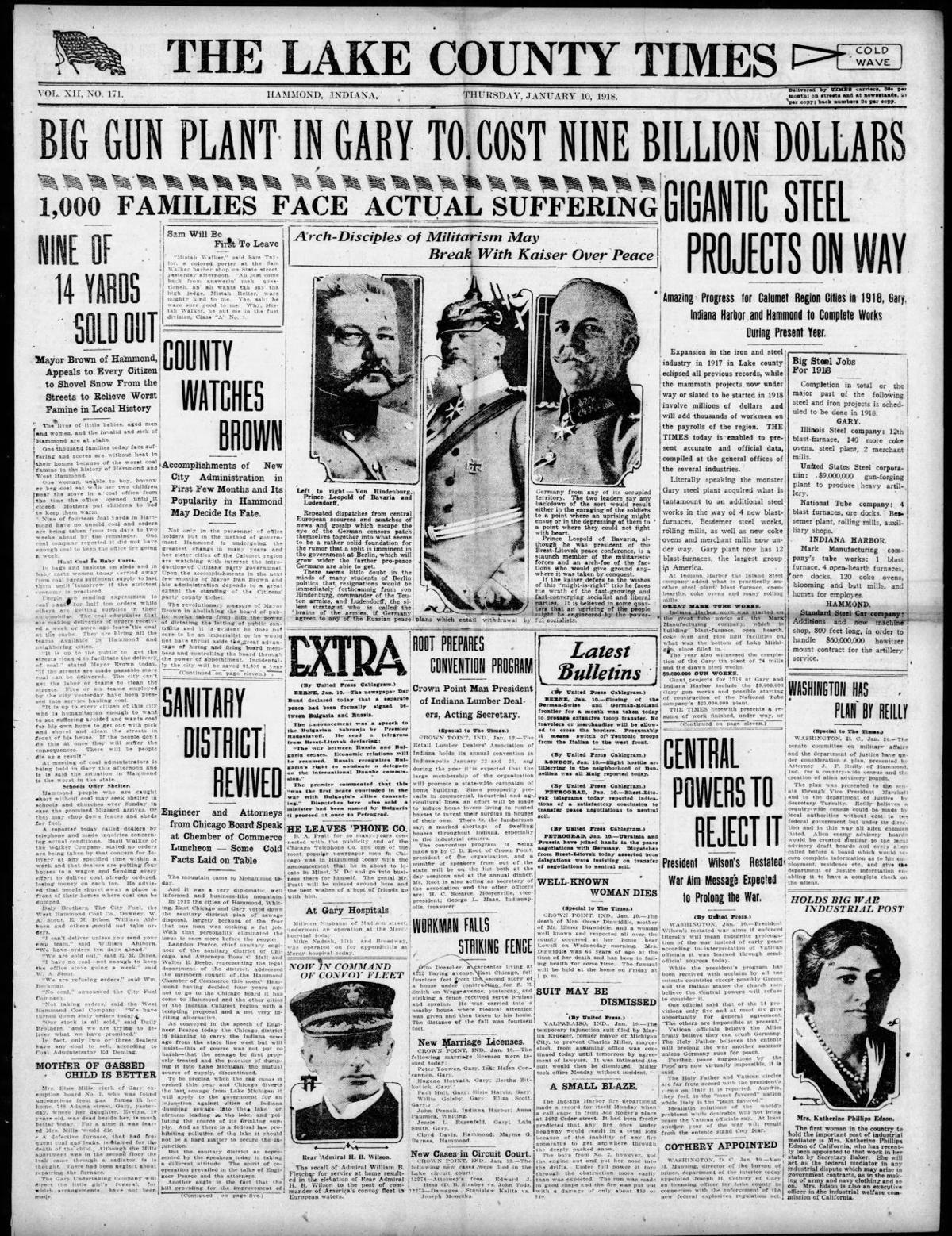 Jan. 10, 1918: Big Gun Plant in Gary to Cost Nine Billion Dollars