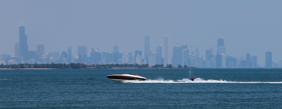 STOCK_Boat on Lake Michigan with Chicago