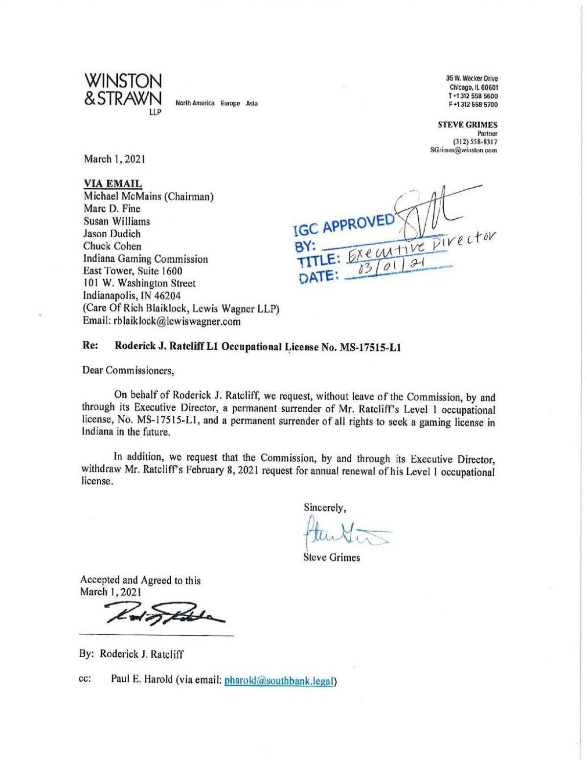 Rod Ratcliff letter surrendering his Indiana occupational gaming license