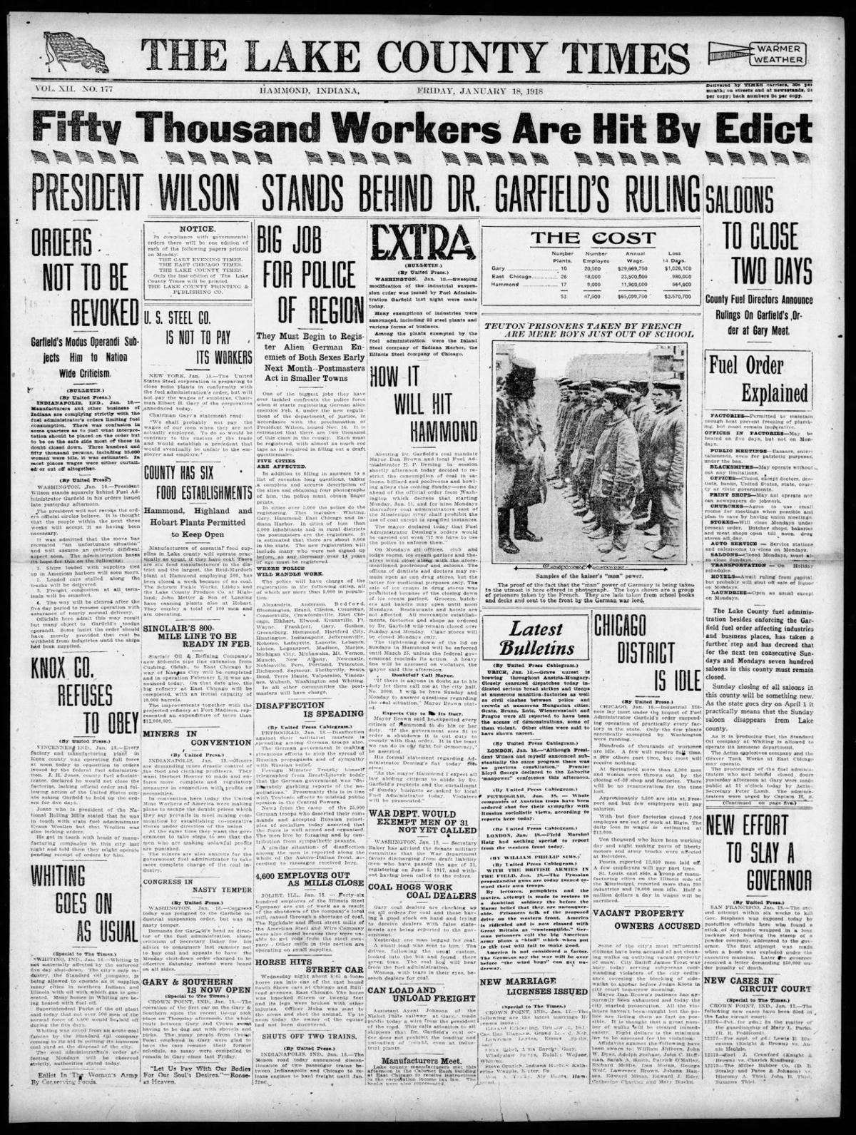 Jan. 18, 1918: Fifty Thousand Workers Are Hit By Edict