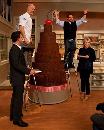 Pastry Chef Alain Roby with Martha Stewart and His Seven Foot Chocolate Cake