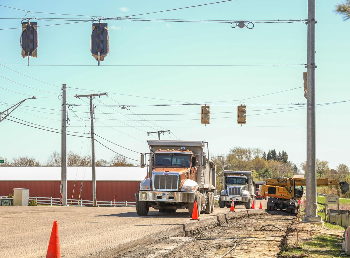 Crews are installing a three-way stoplight at 109th and Colorado Street.