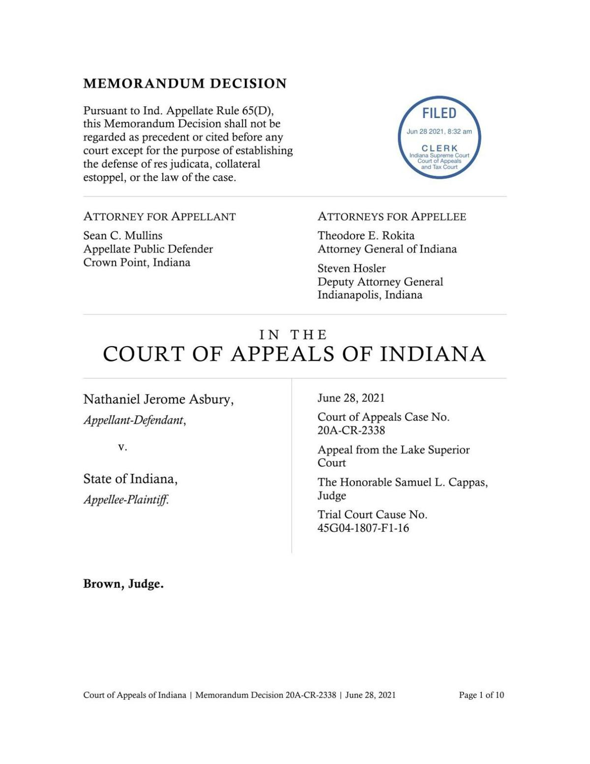 Asbury v. State ruling of Indiana Court of Appeals