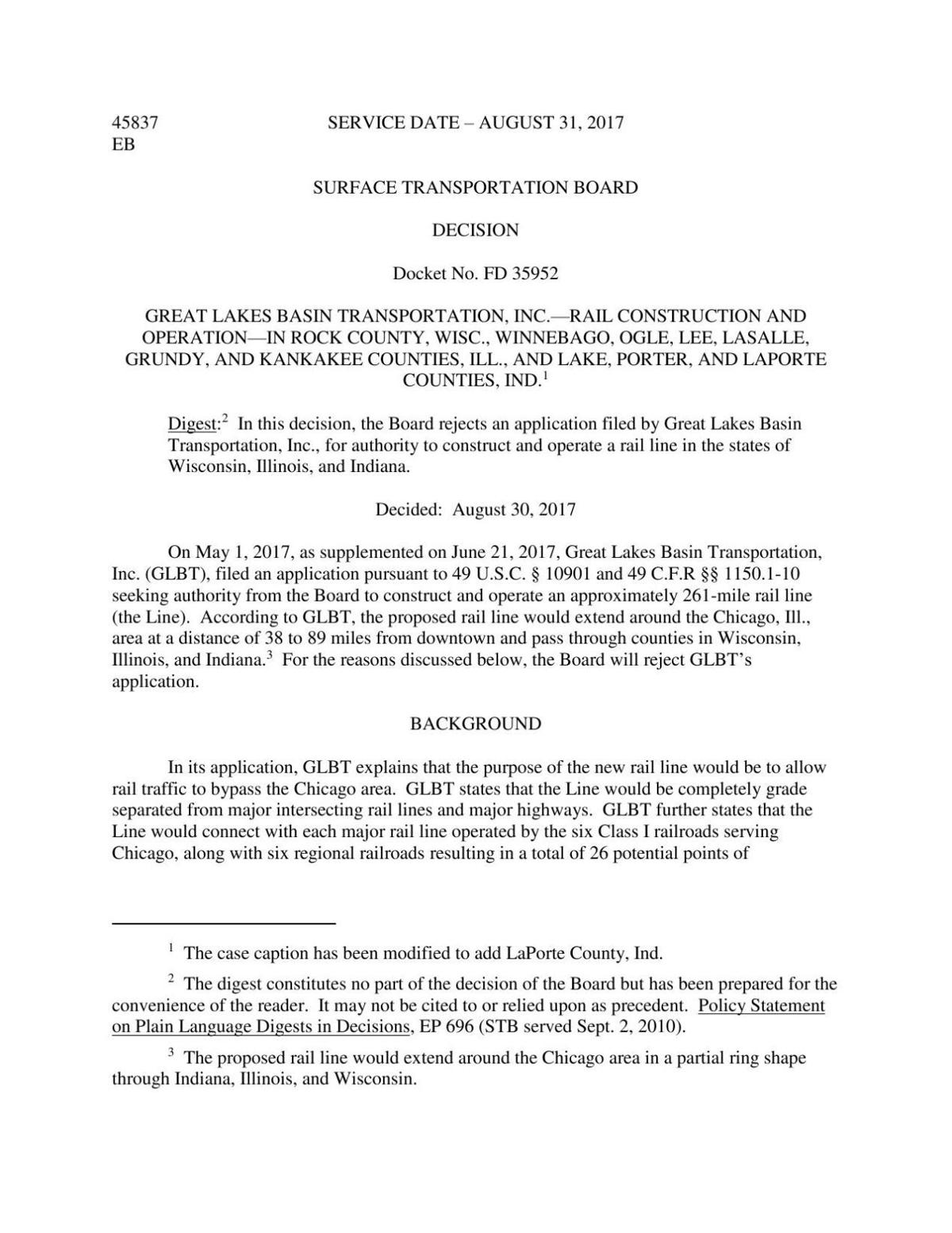 STB ruling on GLBT railroad