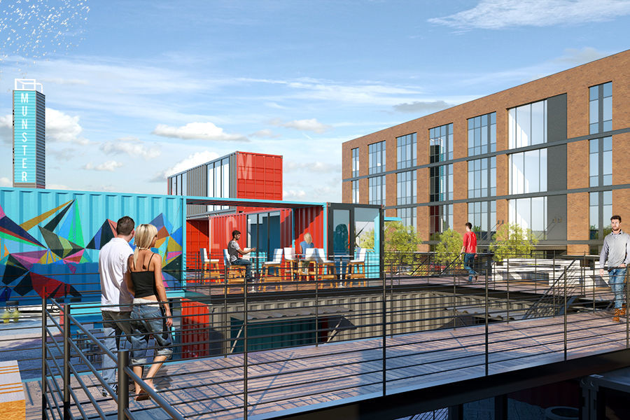 Major new retail and office development in Munster will feature cutting-edge container architecture