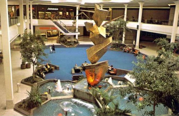 Shopping Mall Seating Atrium of South Lake Mall in Merrillville, Ind. Circa 1976