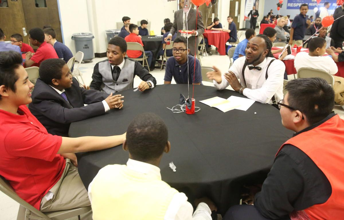 Speaking to the boys at Block Middle School