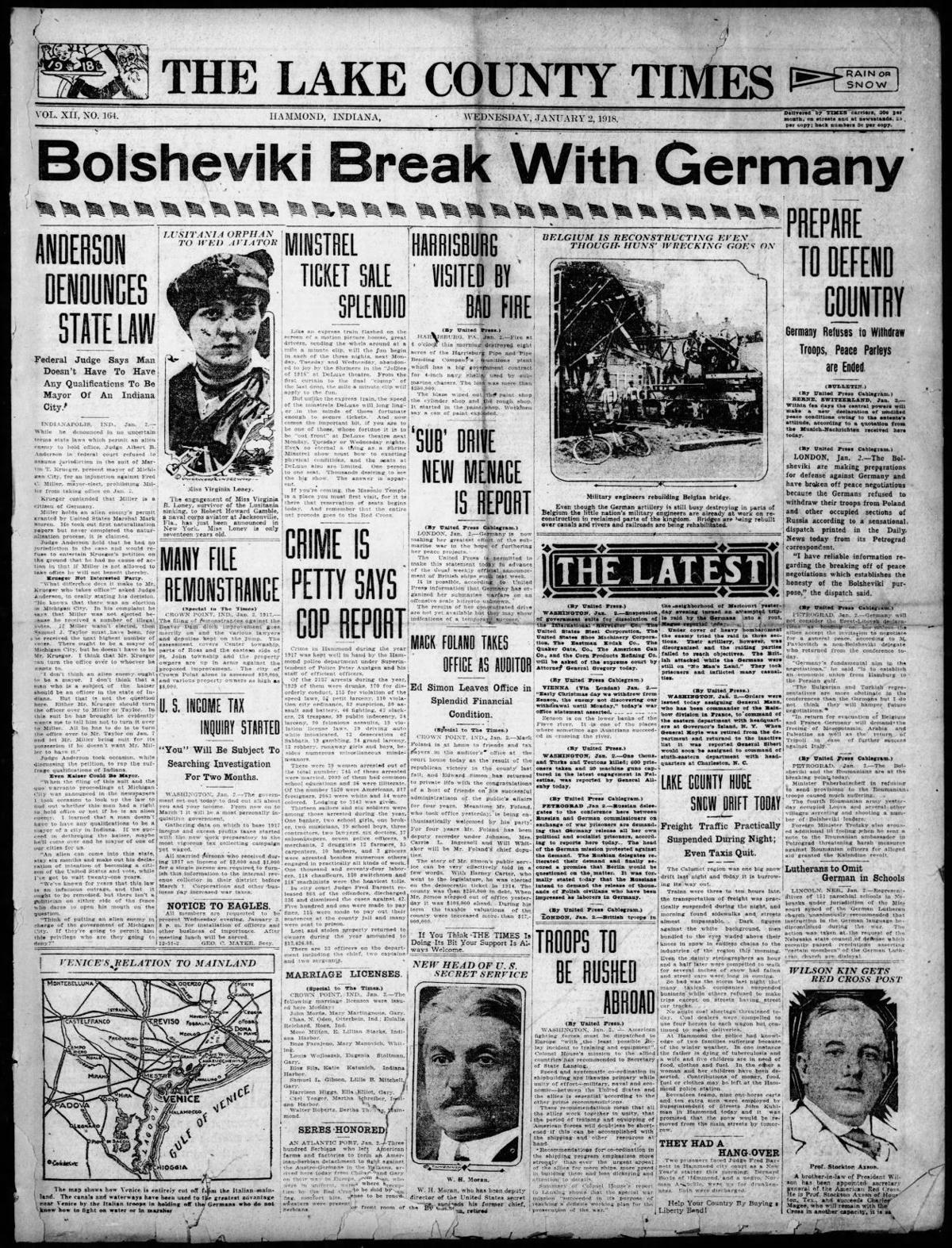 Jan. 2, 1918: Bolsheviki Break With Germany