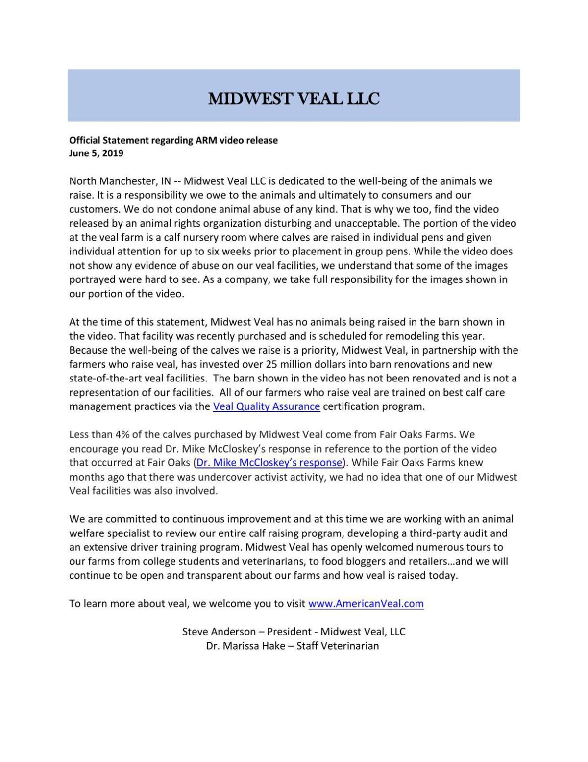 Statement from Midwest Veal