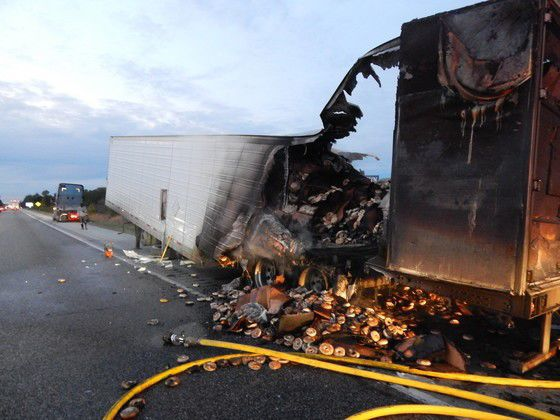 Semi hauling 38,000 pounds bagels goes up in flames, police say