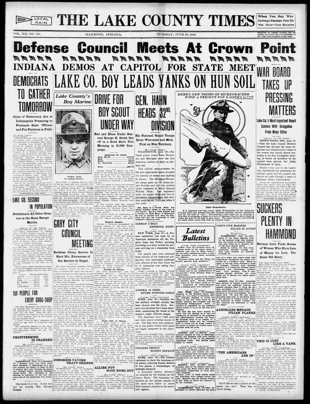 June 18, 1918: Lake Co. Boy Leads Yanks On Hun Soil