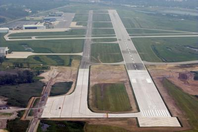 Aerial view of the Gary-Chicago International Airport with its newly extended runway