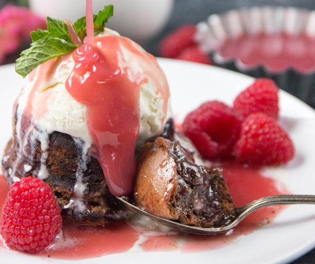 Brownie Sundae with Raspberry Caramel