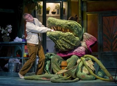 "Actor Jon Cunningham as Seymour Tries to Appease the Pleas of Hungry Plant Audrey II in Theatre at the Center's ""Little Shop of Horrors"""