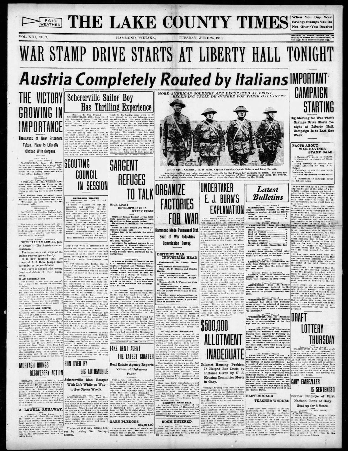 June 25, 1918: Schererville Sailor Boy Has Thrilling Experience