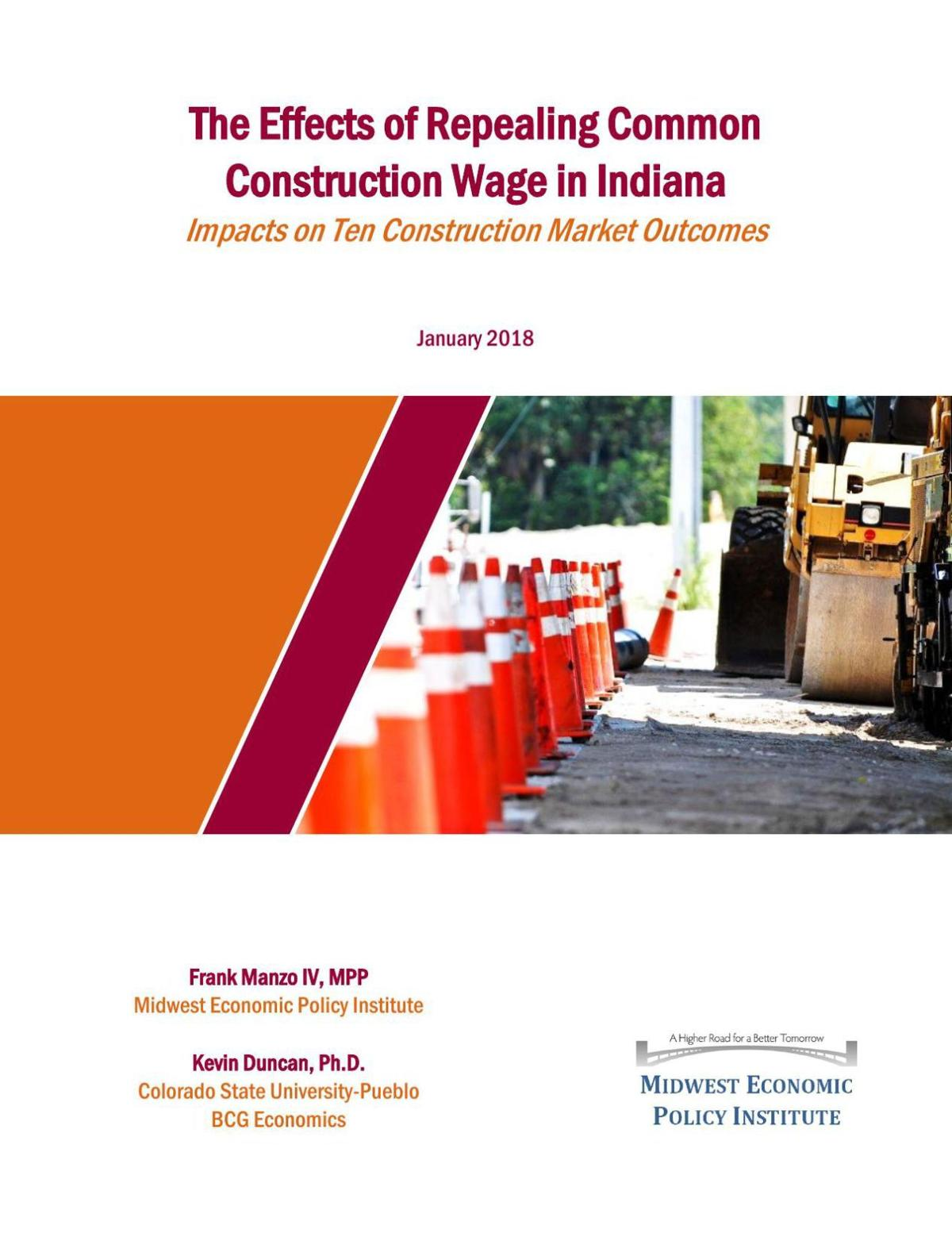 The Effects of Repealing Common Construction Wage in Indiana