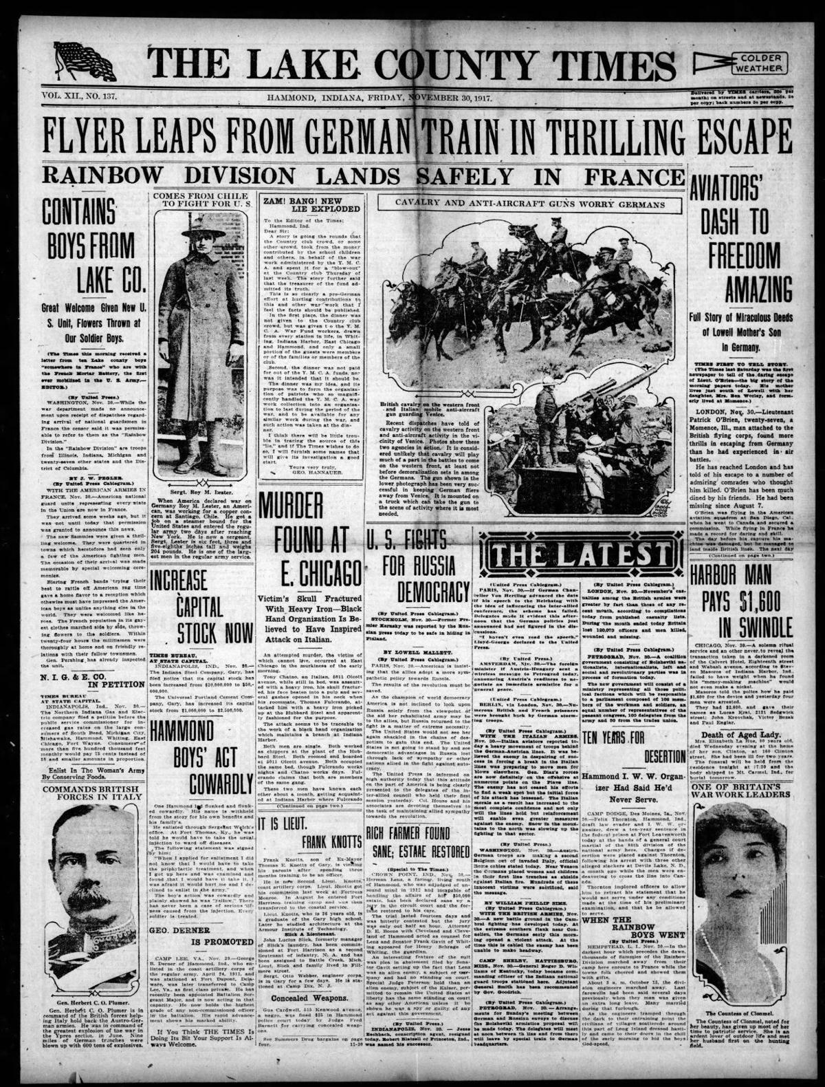 Nov. 30, 1917: Flyer Leaps From German Train In Thrilling Escape