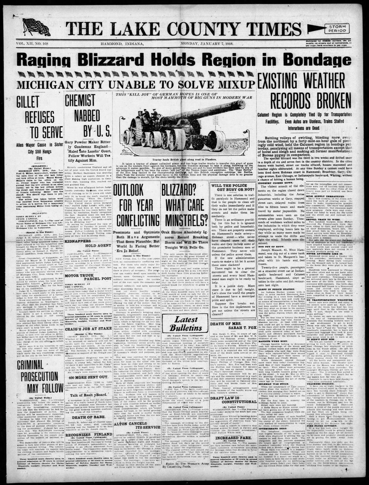 Jan. 7, 1918: Raging Blizzard Holds Region in Bondage