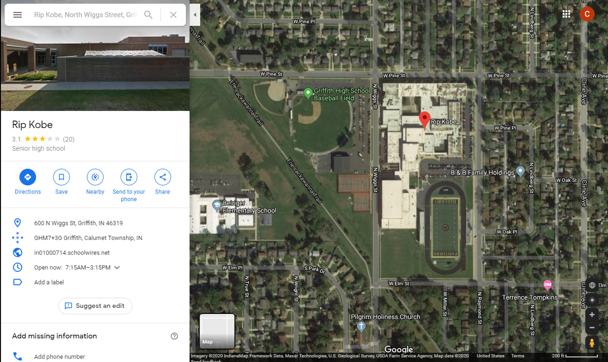 Can't find Griffith High School on Google Maps? Try searching 'Rip Kobe' instead