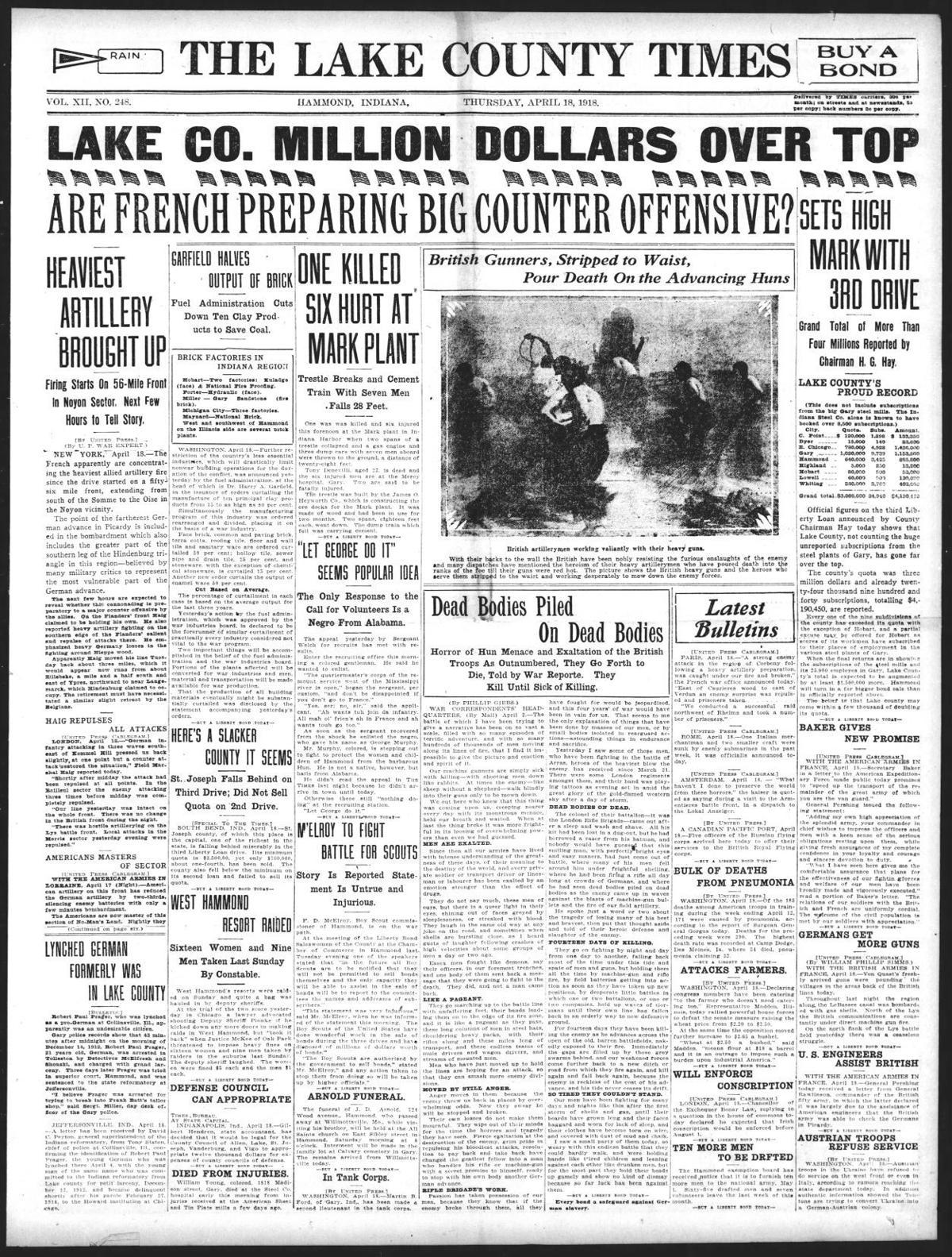 April 18, 1918: One Killed Six Hurt at Mark Plant