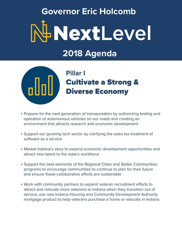Gov. Eric Holcomb's 2018 legislative agenda