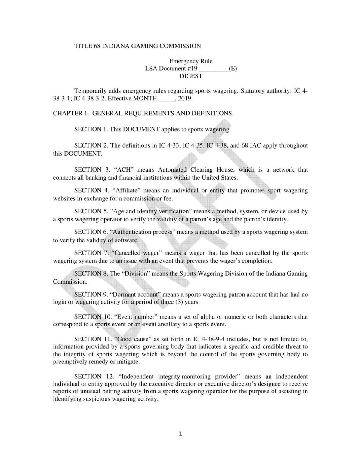 Indiana draft sports betting regulations