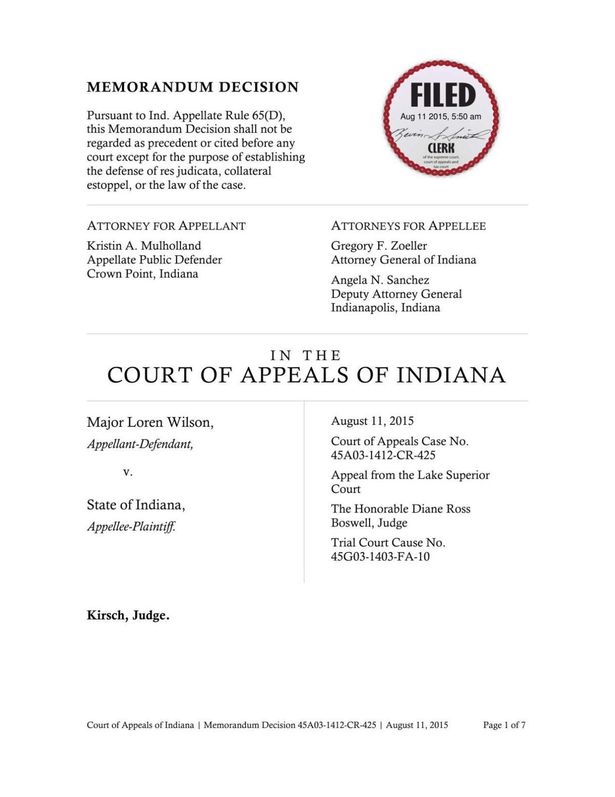 Wilson v. State ruling of Indiana Court of Appeals (2015)