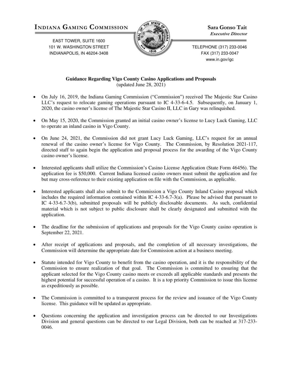 Indiana Gaming Commission guidance for Terre Haute casino relicensing
