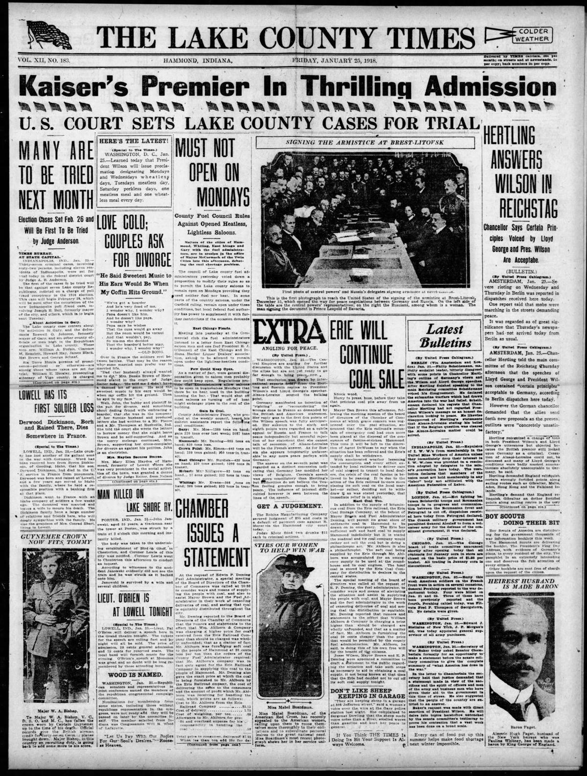 Jan. 25, 1918: U.S. Court Sets Lake County Cases For Trial